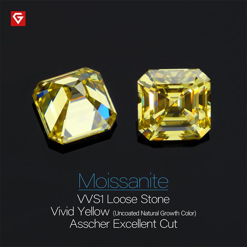 GIGAJEWE Customized Rare Asscher Cut Vivid Yellow VVS1 Moissanite Loose Diamond Test Passed Gemstone For Jewelry Making