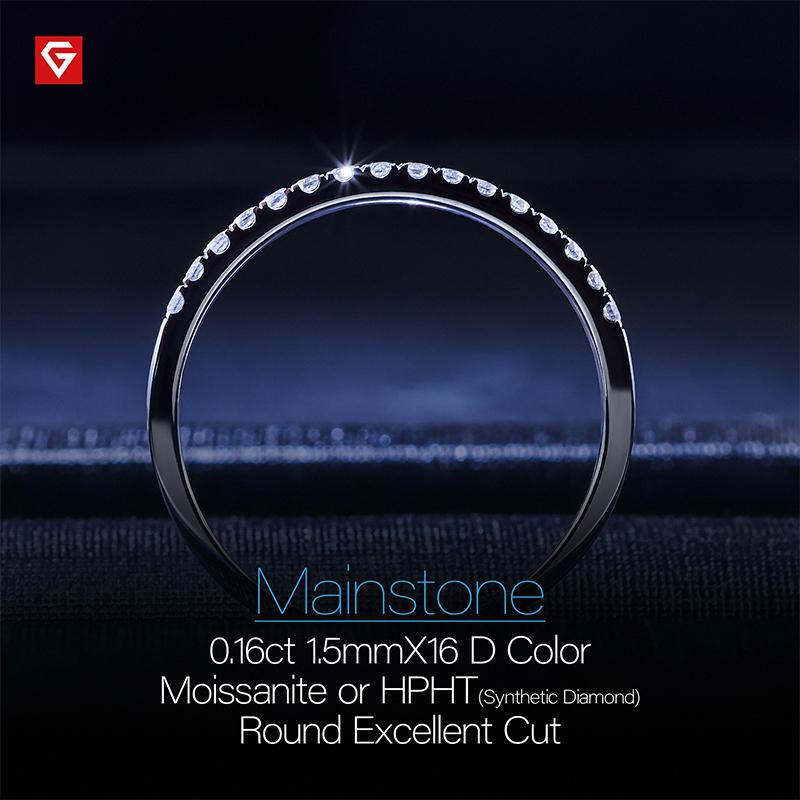 GIGAJEWE Total 0.16ct 1.5mmX16pcs Moissanite Or Diamond HPHT D VVS1 Round Cut 18K White Gold Ring Jewelry Woman Girlfriend Gift