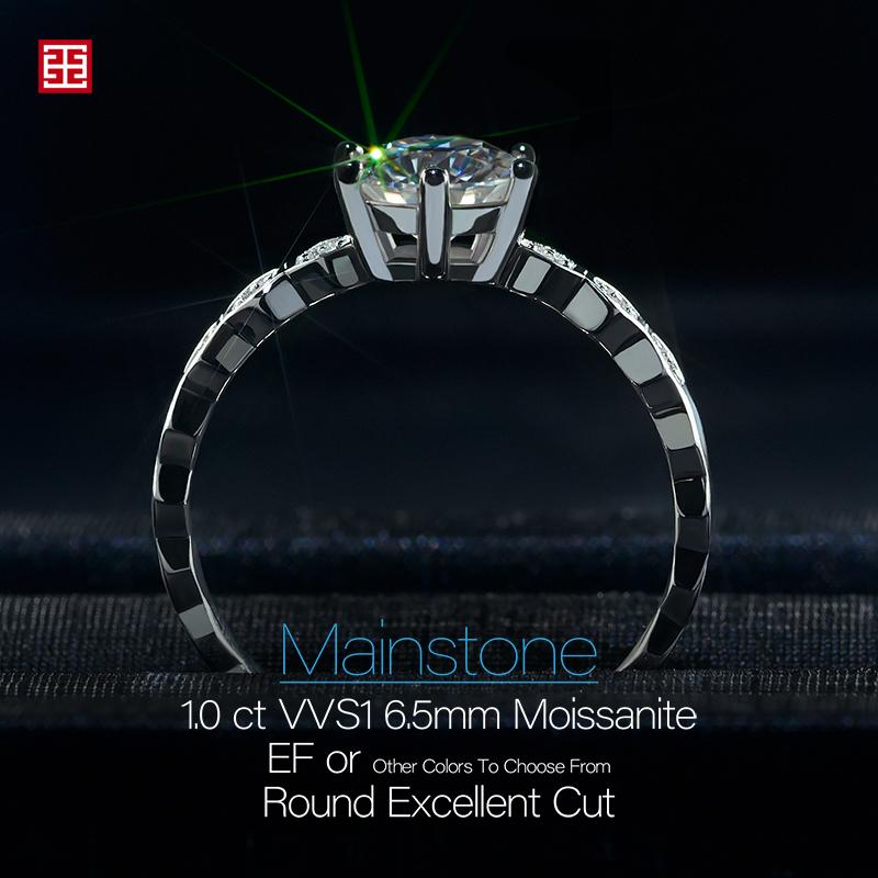 GIGAJEWE 1.0ct 6.5mm EF Round 18K White Gold Plated 925 Silver Moissanite Ring Diamond Test Passed Jewelry Girlfriend Gift