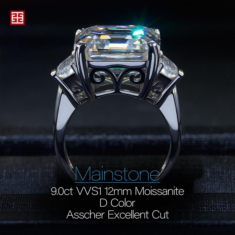 GIGAJEWE Total 9.76ct 12.0mm Moissanite D VVS1 Asscher Cut Customized 14K White Gold Ring Jewelry Woman Girlfriend Gift