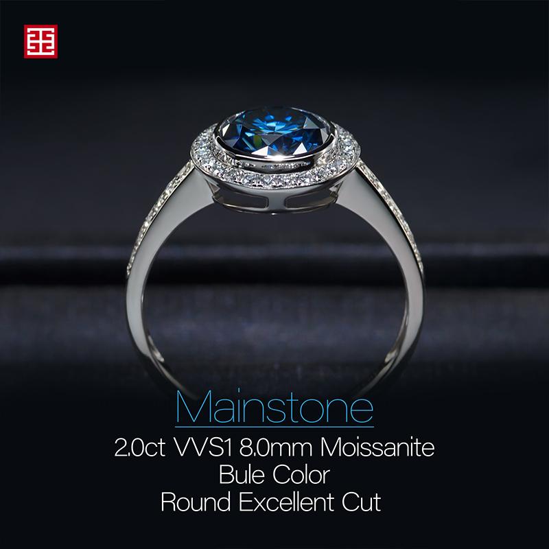 GIGAJEWE 2.0ct 8.0mm Bule Color Moissanite VVS1 Round Cut 18K White Gold Ring Jewelry Anniversary Woman Girlfriend Gift