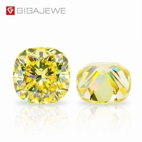 GIGAJEWE Customized Crushed Ice Cushion Cut Vivid Yellow VVS1 Moissanite Loose Diamond Test Passed Gemstone For Jewelry Making