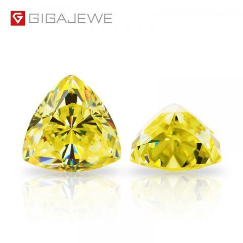 GIGAJEWE Customized Crushed Ice Trillion Cut Vivid Yellow VVS1 Moissanite Loose Diamond Test Passed Gemstone For Jewelry Making