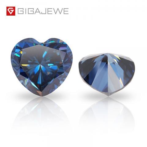 GIGAJEWE Synthetic Diamond 1 carat deep Color heart cut Loose gemstone Wholesale Blue Moissanite