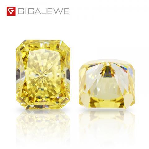 GIGAJEWE Customized Radiant Cut Vivid Yellow VVS1 Moissanite Loose Diamond Test Passed Gemstone For Jewelry Making