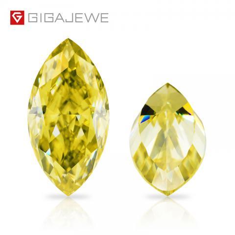 GIGAJEWE Customized Crushed Ice Marquise Cut Vivid Yellow VVS1 Moissanite Loose Diamond Test Passed Gemstone For Jewelry Making