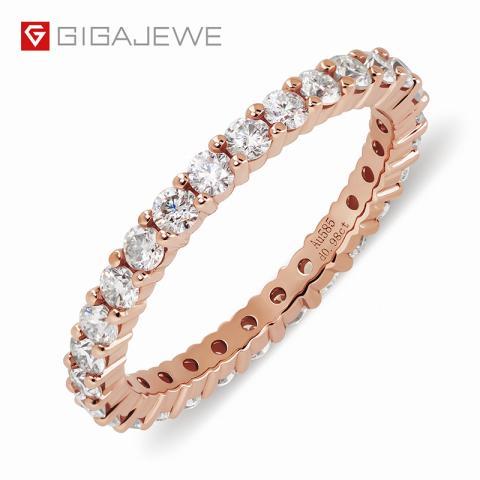 GIGAJEWE Total 0.98ct 2.0mmX28pcs Moissanite Or Diamond HPHT D VVS1 Round Cut 14K Gold Ring Jewelry Woman Girlfriend Gift
