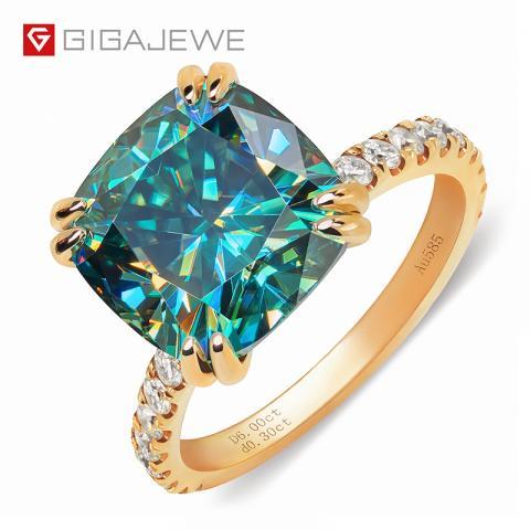 GIGAJEWE Total 6.8ct 11.0mm Moissanite D VVS1 Cushion Cut Customized 14K Gold Ring Jewelry Woman Girlfriend Gift