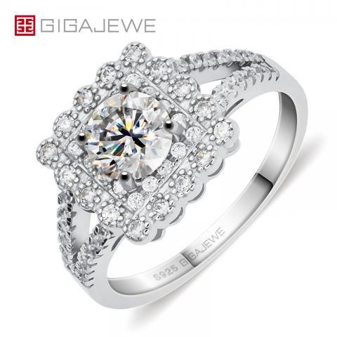 GIGAJEWE 0.8ct 6.0mm EF Round 18K White Gold Plated 925 Silver Moissanite Ring Diamond Test Passed Jewelry Woman Girlfriend Gift