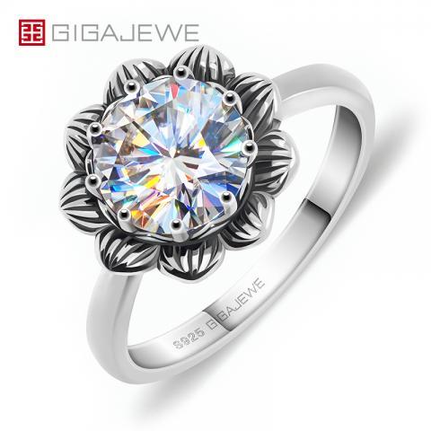 GIGAJEWE 2.0ct 8.0mm EF Round 925 Thai Silver Moissanite Ring Diamond Test Passed Jewelry Woman Girlfriend Gift