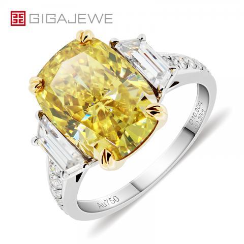 GIGAJEWE Total 10.76ct 10x14mm Vivid Yellow Moissanite VVS1 Crushed Ice Rectangular Cushion Cut 18K White Gold Ring Jewelry