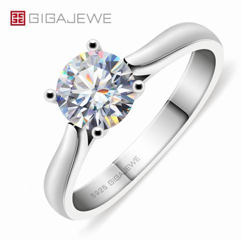 GIGAJEWE 1ct 6.5mm Round Cut EF VVS1 Moissanite 925 Silver Ring Diamond Test Passed Fashion Claw Setting Women Girlfriend Gift