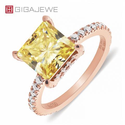 GIGAJEWE 3.0ct 8.0mm Fancy Vivid Yellow Color Moissanite VVS1 Princess Cut 18K Gold Ring Jewelry Anniversary Girlfriend Gift