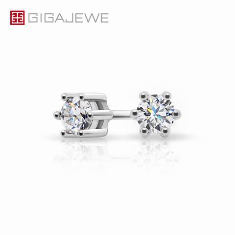 GIGAJEWE Total 0.2ct 3mm Round Cut EF VVS1 Moissanite 925 Silver Earrings Diamond Test Passed Fashion Love Token Woman Girl Gift