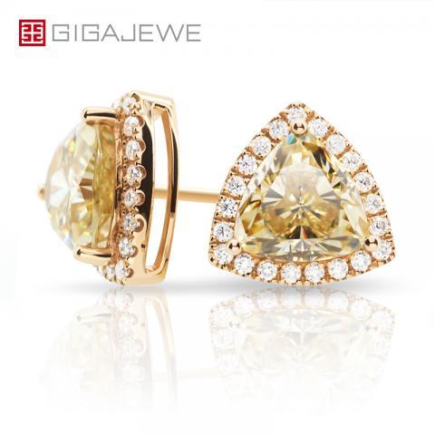 3CT 9K/14K/18k Yellow Gold Earrings set with Trilliant Vivid Yellow color Mossanite Yellow gold earrings Anniversary Gift Girlfriend Gift