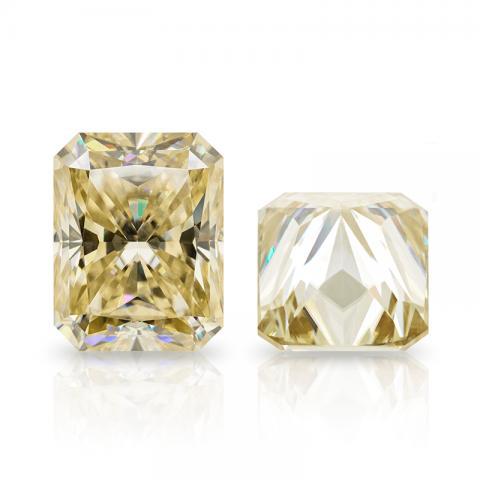 GIGAJEWE Champagne Radiant Cut Moissanite Loose Diamond Test Passed Gemstone For Jewelry Making Gift