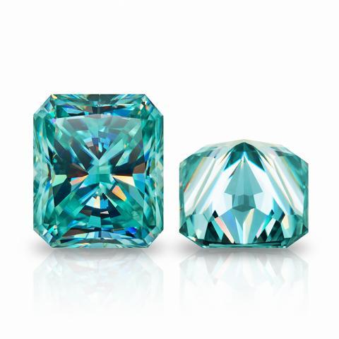 GIGAJEWE Cyan Color Radiant Cut Moissanite Loose Diamond Test Passed Gemstone For DIY Jewelry Making Gift