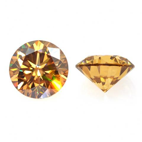 GIGAJEWE 0.5-3ct 5.0-9.0mm Golden VVS1 Round Hand Cutting Moissanite Loose Stone Diamond Test Passed Lab Gem DIY Jewelry Making
