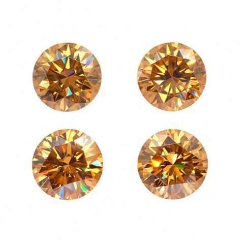 GIGAJEWE 3.5mm-4.5mm Golden VVS1 Round Hand Cutting Moissanite Loose Stone Diamond Test Passed Lab Gem DIY Jewelry Making