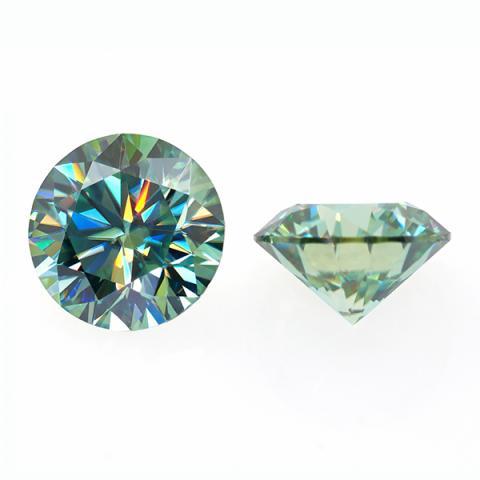 GIGAJEWE 0.5-3ct 5.0-9.0mm Green VVS1 Round Hand Cutting Moissanite Loose Stone Diamond Test Passed Lab Gem DIY Jewelry Making