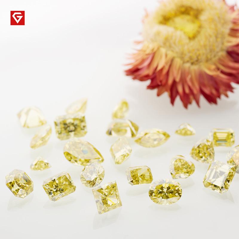 GIGAJEWE Customized Crushed Ice Heart Cut Vivid Yellow VVS1 Moissanite Loose Diamond Test Passed Gemstone For Jewelry Making