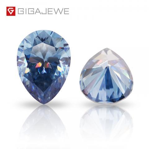 Synthetic Diamond 1 carat Color pear cut Loose gemstone Moissanite Blue