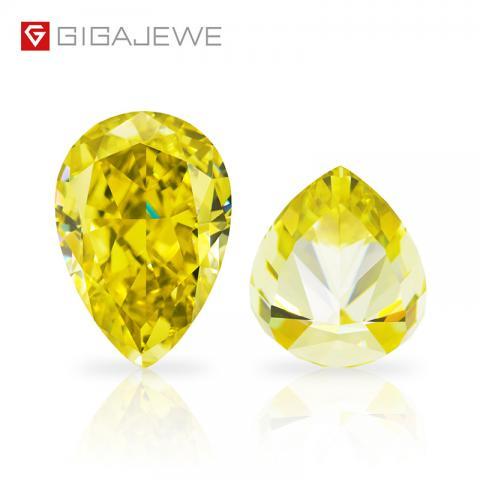 GIGAJEWE Customized Crushed Ice Pear Cut Vivid Yellow VVS1 Moissanite Loose Diamond Test Passed Gemstone For Jewelry Making