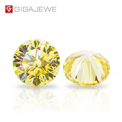 GIGAJEWE Customized Round Cut Vivid Yellow VVS1 Moissanite Loose Diamond Test Passed Gemstone For Jewelry Making