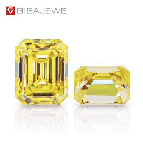 GIGAJEWE Customized Rare Emerald Cut Vivid Yellow VVS1 Moissanite Loose Diamond Test Passed Gemstone For Jewelry Making