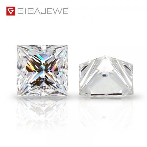 GIGAJEWE D Top Color 0.5-6.0ct Princess Cut Moissanite Loose Diamond Test Passed Gemstone For DIY Jewelry Making