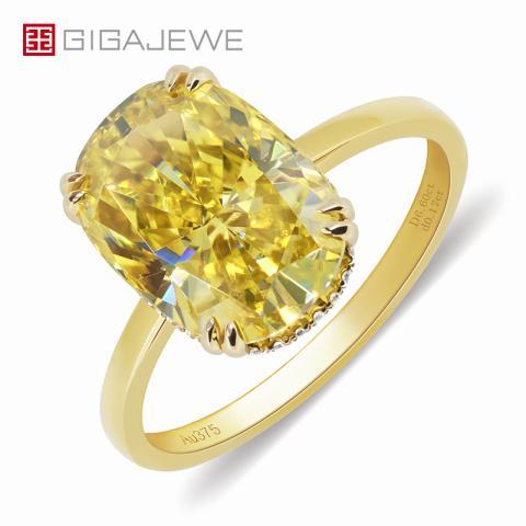 GIGAJEWE 10.0ct 10x14mm Vivid Yellow Color Moissanite VVS1 Crushed Ice Rectangular Cushion Cut 18K Yellow Gold Ring Jewelry