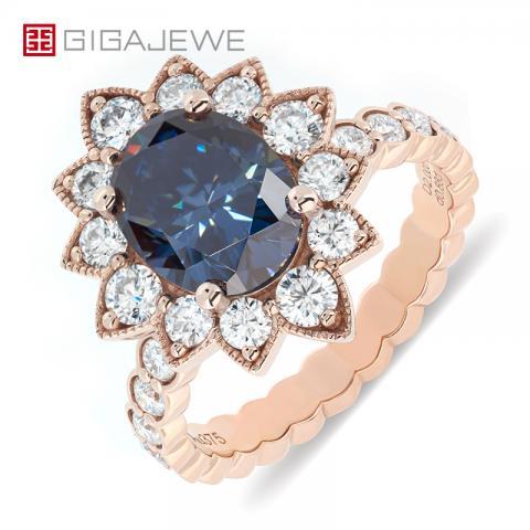 GIGAJEWE 2.0ct 7x9mm Dark Blue Color Moissanite VVS1 Oval Cut 18K Rose Gold Ring Jewelry Anniversary Woman Girlfriend Gift