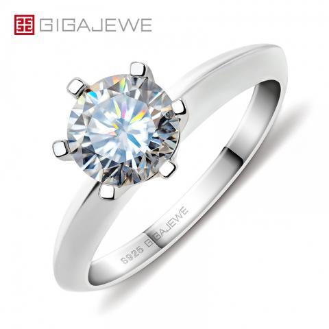 GIGAJEWE 1.0ct 6.5mm EF Round 18K White Gold Plated 925 Silver Moissanite Ring Diamond Test Passed Jewelry Woman Girlfriend Gift