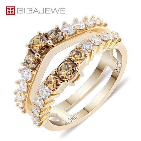 GIGAJEWE Total 1.16ct 2X3mm 4X2.5mm Moissanite VVS1 Yellowish Brown Cushion Cut 18K Yellow Gold Ring Jewelry Girlfriend Gift
