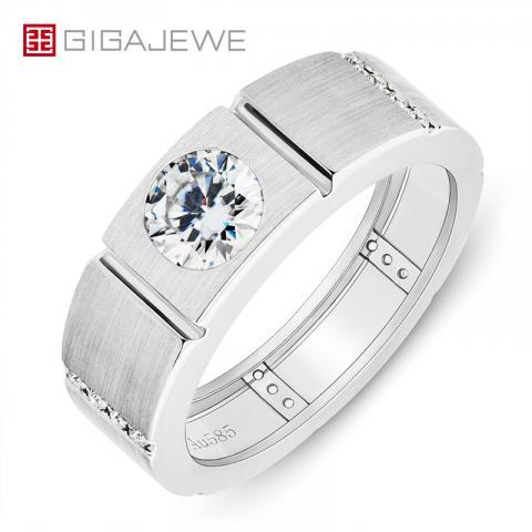 GIGAJEWE Mainstone 1.0ct 6.5mm D Color Moissanite Round Cut VVS1 18K White Gold Ring Jewelry Man Boyfriend Gift