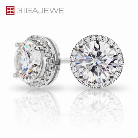 GIGAJEWE 1.0ctX2pcs 6.5mm Moissanite White D VVS1 Round Cut Customized 18K Gold Circle Stud Earrings Jewelry Woman Gift