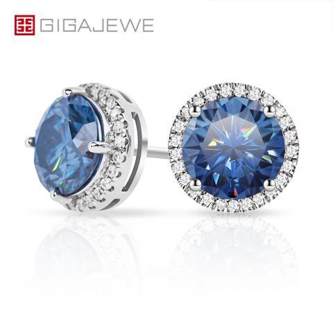 GIGAJEWE 1.0ctX2pcs 6.5mm Moissanite Bule Color VVS1 Round Cut Customized 18K Gold Circle Stud Earrings Jewelry Woman Girl Gift
