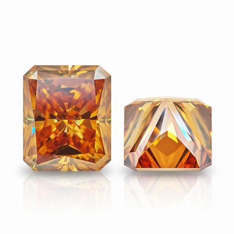GIGAJEWE Golden Radiant Cut Moissanite Loose Diamond Test Passed Gemstone For DIY Jewelry Making Gift