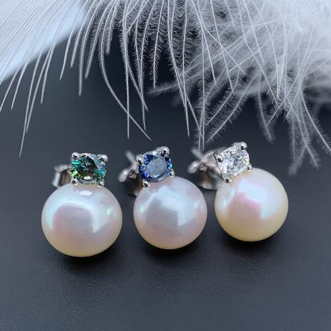 GIGAJEWE 3mm Moissanite and 7mm Freshwater Pearl Earring Stud 925 silver Moissanite Engagement Earrings