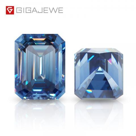 GIGAJEWE Blue Diamonds price per carat Deep colors 5x7mm 1.0carat loose synthetic Gemstone Blue Emerald Moissanite