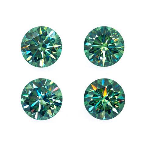 GIGAJEWE 3.4-4.5mm Green VVS1 Round Hand Cutting Moissanite Loose Stone Diamond Test Passed Lab Gem DIY Jewelry Making