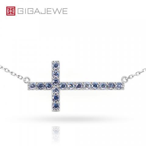 GIGAJEWE 9K/14K/18K White Solid gold 2mm Vivid Blue Round cut Moissanite Diamond Necklace,Engagement Necklace,Wedding Necklace