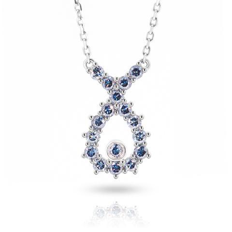 9K/14K/18K White Solid gold 2mm Vivid Blue Round cut Moissanite Diamond Necklace,Engagement Necklace,Girlfriend Necklace