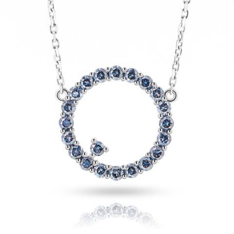 9K/14K/18K White Solid gold 2mm Vivid Blue Round cut Moissanite Diamond Necklace,Engagement Necklace,Circle Necklace