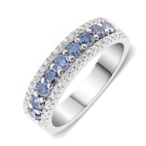 GIGAJEWE 2mm Vivid Blue Uncoated color Round Cut Ring Moissanite 9K/14K/18K White Gold , Moissanite Ring, Engagement Ring