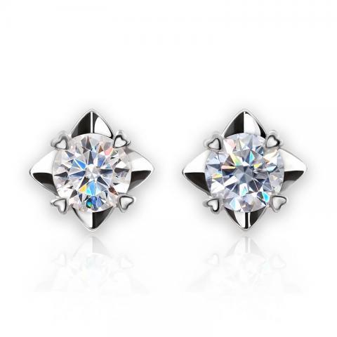 GIGAJEWE Moissanite Yellow/Green/F VVS1 Round Cut Total 1.2ct Lab Grown Diamond Silver Earrings Fashion Jewelry Girlfriend Gift
